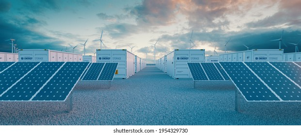 Battery storage power station  accompanied by solar and wind  turbine power plants. 3d rendering.