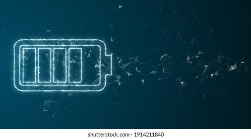 Batterietechnologie mit schneller Hochleistungs-Stromversorgung, um eine Zukunft für die Speicherung erneuerbarer Energie zu schaffen - 3D-Illustration