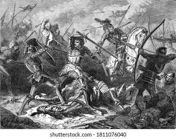 Battle of Agincourt, Vintage engraving. From Popular France, 1869.