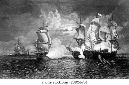 Battle between Captain John Paul Jones' ship Bon Homme Richard and the British frigate Serapis, September 23, 1779