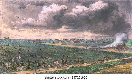 Battle between revolting slaves and colonial soldiers at the plantation Bachelor's Adventure in the Demerara Province of British Guiana.