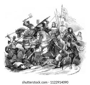 Battle of Bouvines, vintage engraved illustration. Magasin Pittoresque 1844.