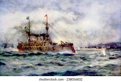 The Battle of Manila Bay, the American cruiser Olympia firing the first shot, May 1, 1898, painting by Robert Hopkin