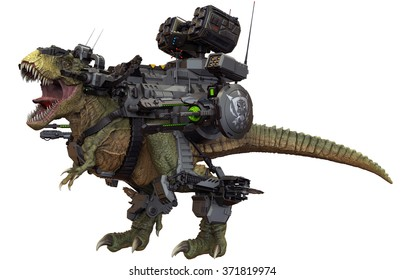 Battle Rex, a cybernetic beast, is armed with dual 25mm rotary cannons, dual particle cannons, dual 80mm grenade launchers, buzz saws, and a missile turret.