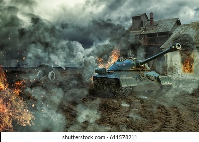 The battle of tanks at an abandoned production building. Military 3D illustration
