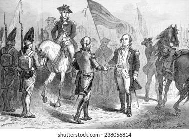 The Battle of Yorktown, American General Benjamin Lincoln receives General Cornwallis' sword from British General Charles O'Hara, October 17, 178 1