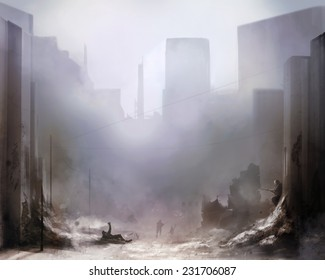Battlefield art background.Illustration of a world war 2 daylight battle scene with soldiers and destroyed buildings background.