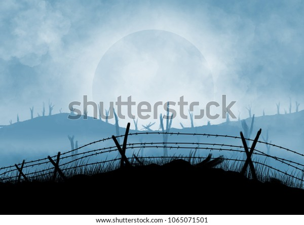 Battlefield illustration background. Smoke and cloud in the sky.  Barbed wire fences. Desolation.  Original digital illustration.