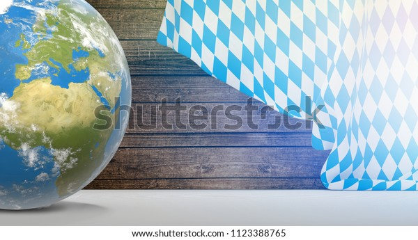bavaria flag planet earth globe. 3D-Illustration. elements of this image furnished by NASA