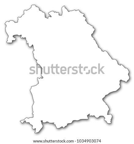 Bavaria Germany Map Shape Shadow Stock Illustration 1034903074