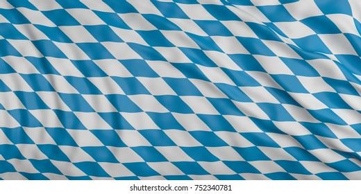 Bavaria, Germany. Waving in the wind flag of Bavaria, Germany background. 3d illustration