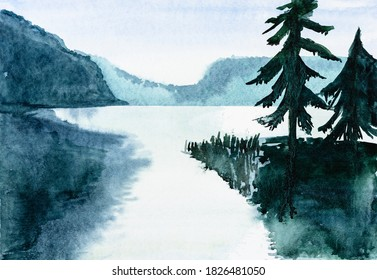 Bavarian night landscape with lake and spruce trees hand-drawn by watercolours on white paper