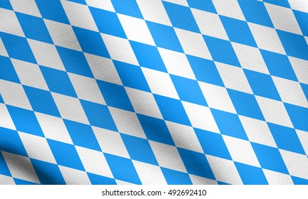 Bavarian official flag, symbol, banner, element. Oktoberfest checkered background with blue and white rhombus. Flag of Bavaria waving in the wind with detailed fabric texture