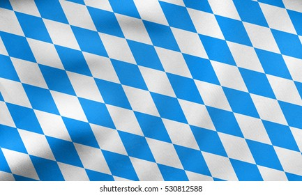 Bavarian official flag, symbol, banner, element. Oktoberfest checkered background with blue and white rhombus. Correct colors. Flag of Bavaria waving in the wind, real fabric texture. 3D illustration
