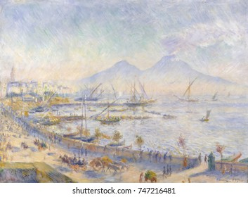 The Bay of Naples, by Auguste Renoir, 1881, French impressionist painting, oil on canvas. This sunlight bathed view of Naples includes the volcano, Mount Vesuvius