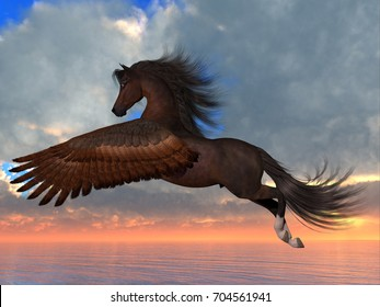 Bay Pegasus Horse 3d illustration - An Arabian Pegasus horse flies over the ocean with powerful wing beats on his way to his destination.