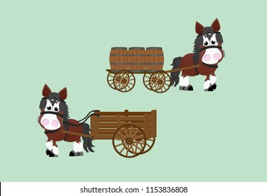 Bay shire horse pulling a wooden cart with wine barrels on it.