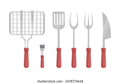 BBQ barbecue flatware isolated icons raster set. Grate for roasting meat brush and knife with sharp blade. Forks types dishware for barbeque picnic