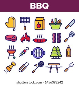 BBQ Equipment, Tools Linear Icons Set. Barbecue Thin Line Contour Symbols Pack. BBQ Cooking Pictograms Collection. Outdoor Leisure, Picnic, Hiking Concept. Grill Cooking Outline Illustrations