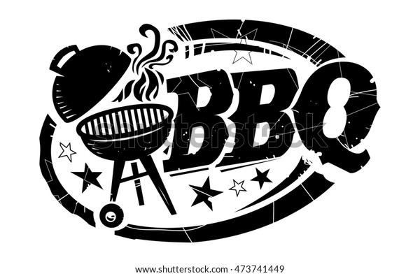 BBQ Grill with Smoke and Stars Text Graphic in black with distressed texture
