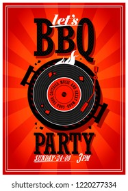 Bbq party design with vinyl record on the grill, raster version