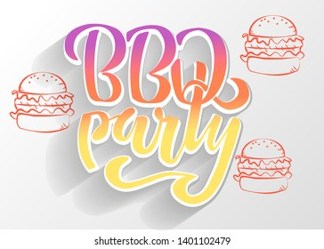 BBQ party hand lettering logo design template. Gradient Barbecue text typographic label isolated on white background with shadow and burgers silhouette.