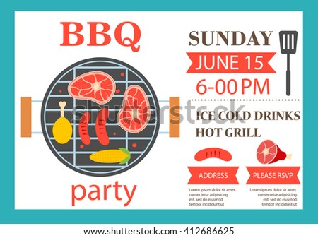 bbq party invitation grill top view stock illustration 412686625