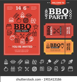 Bbq Party Invitation Poster, Flyer and Ticket with Thin Line Icon Set on a Black. illustration of Barbecue