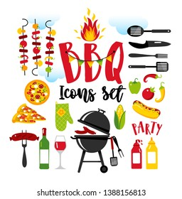 BBQ party set icons on white background with symbols of street food.