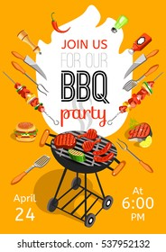 BBQ season opening party announcement flat poster with barbecue accessories event date and time abstract  illustration