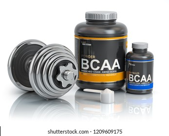 BCAA  branched-chain amino acid with scoop and dumbbell.Bodybuilder nutrition(supplement) concept. 3d illustration.