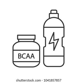 BCAA supplement linear icon. Whey protein. Thin line illustration. Sports nutrition. Contour symbol. Raster isolated outline drawing
