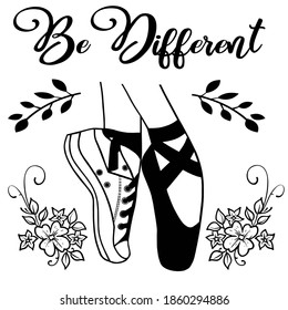 Be Different Ballet shoes in Black and White
