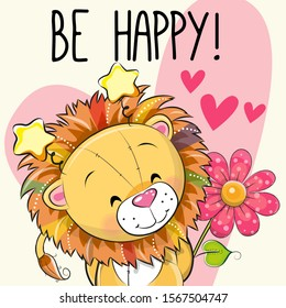 Be Happy Greeting card Lion with hearts and a flower
