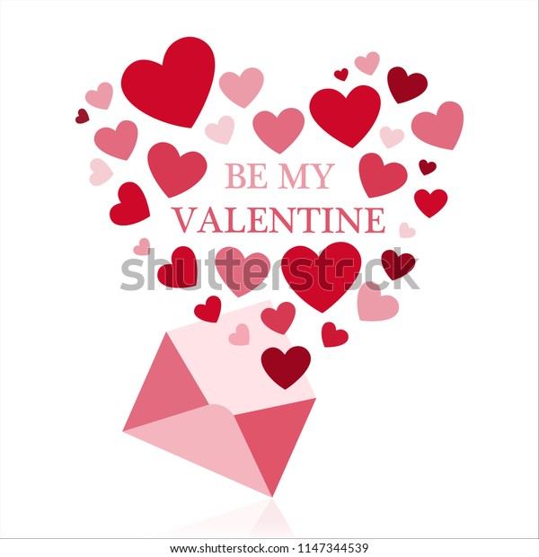 Be my valentine greeting card with envelope and red hearts.