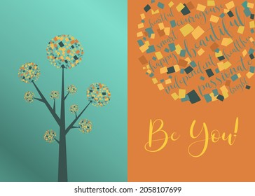 Be you card design with mosaic patterns