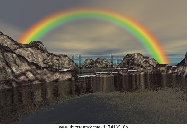At the beach, 3d rendering, a natural landscape, beautiful rainbow, ice on the rocks and a cloudy sky.