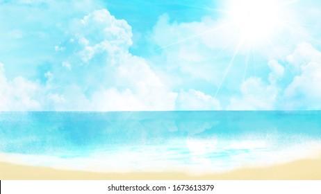 beach background illustration, beach, blue sky, wave, sunshine