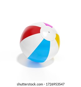 Beach ball isolated on white background 3d rendering. 3d illustration multicolored beach ball, Relax, holiday template minimal Summer concept.