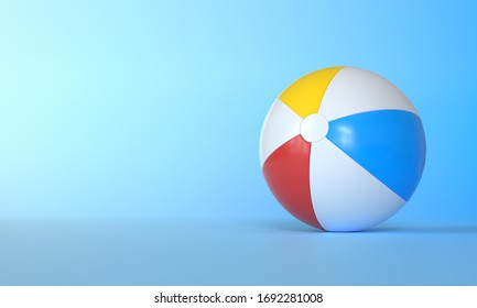 Beach ball on blue background.  Summer vacation concept. Minimalism concept. 3D Rendering, 3D Illustration