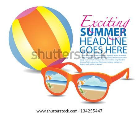 beach ball reflective sunglasses background template stock