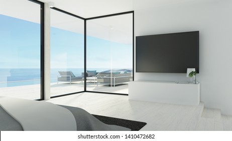 beach bedroom & tv wall / 3d rendering