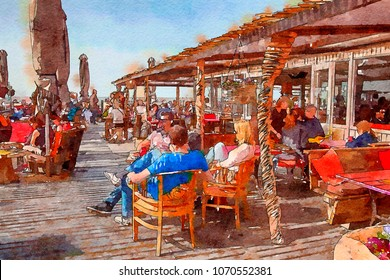 beach cafe,  watercolor style