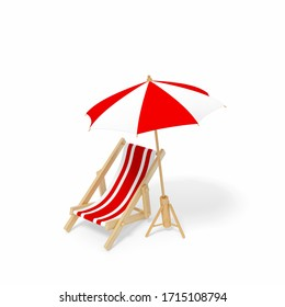 Beach chair, Deck chair with red and white stripes isolated on white background 3d rendering. Sunchair, wooden beach lounge chair with umbrella. 3d illustration Relax, holiday Summer minimal concept.