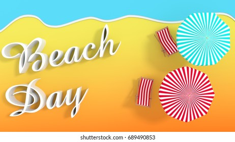Beach Day - beach with umbrellas - 3d rendering