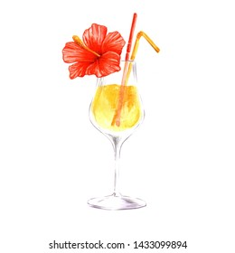 Beach drinks Bar party cocktail. Isolation on a white background. Alcohol in a glass set, illustration of a restaurant menu. Aquarelle cocktail drink illustration for background, texture, wrapper patt