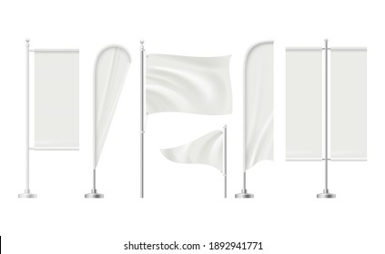 Beach flag. Advertizing blank surface promotion signboard retail markets banners realistic mockup collection