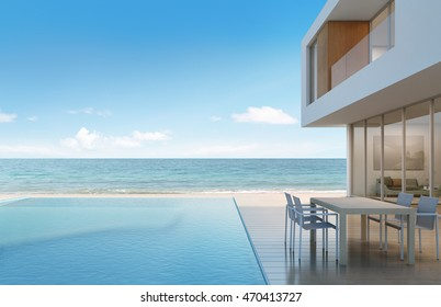 Beach house with sea view in modern design - 3d rendering