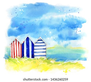Beach huts by the sea, watercolor  painting