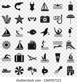 Beach icons set. Simple style of 36 beach icons for web for any design